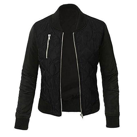 Minetom Femme Mode Coutures Chaud Blouson Cool Bomber Veste Aviateur Classique Matelassé Vintage Manteaux Jacket Coat Biker Moto Zipper Courtes Noir FR 46