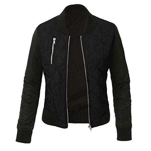 Minetom Damen Frühlings Mode Stylisch Jacke Kunstleder Tops Coat Reißverschluss Bomberjacke Bikerjacke Motorradjacke Schwarz DE 40