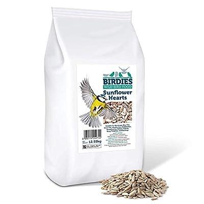 Birdies Sunflower Hearts- Bird Seed for Wild Birds -12.55kg Premium Husk Free Bakery Grade Kernels by Birdies