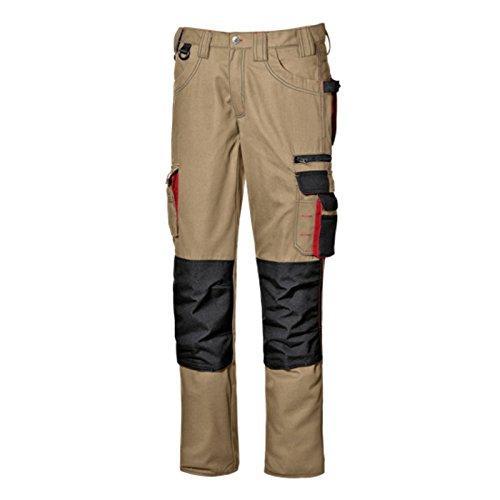 Pantalone da lavoro pantalone multitasche lavoro uomo lunghi Harrison colore Kaki realizzato in poliestere e cotone Broken Twill marca Sir safety sistem (48)