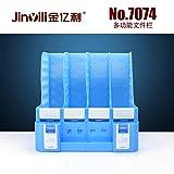 Schreibtisch-Organizer für Zeitschriften, für Büro, Schule, zu Hause, Kunststoff, Ordner, Trennwände und Ordner, 4 Fächer, Blau