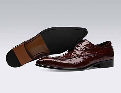 Scarpe Uomo in Pelle Scarpe in pelle da uomo business Cerimonia pizzo a punta scarpe da sposa sposo ( Colore : Marrone , dimensioni : EU 41/UK7 ) Marrone