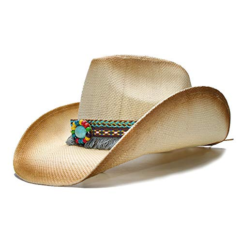 Perlen Cowgirl Hut (WANGXINQUAN Damen Herren Sommer Sonnenhut Stubble Beach Cowboy Westerly Cowgirl Fedora Hut Quaste Türkis Perlen Lederband (Farbe : 1, Größe : 56-58CM))