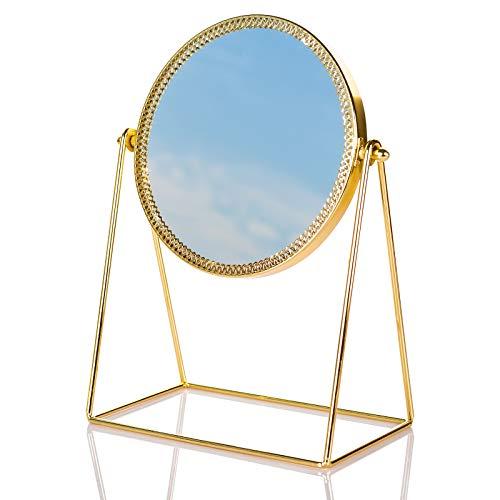 Dawoo Espejo De Tocador De Maquillaje Dorado Espejo