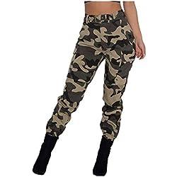 Pantalones Militares Mujer Cintura Alta Pantalon de Camuflaje de Chándal Hip Hop Punk Rock Casuales Tumblr Streetwear Sin cinturón Moda 2019 Yvelands(Caqui,M)