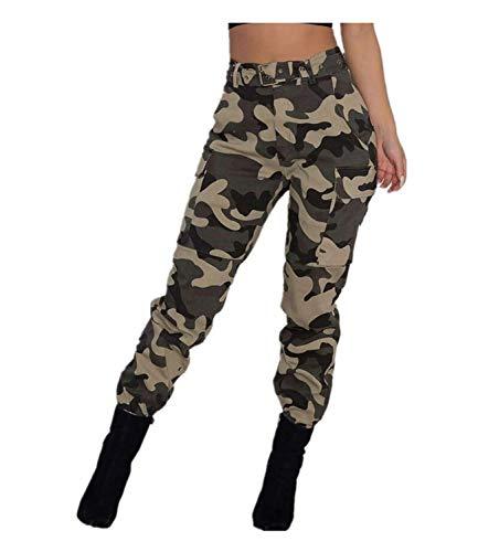 Pantalones Militares Mujer Cintura Alta Pantalon Camuflaje