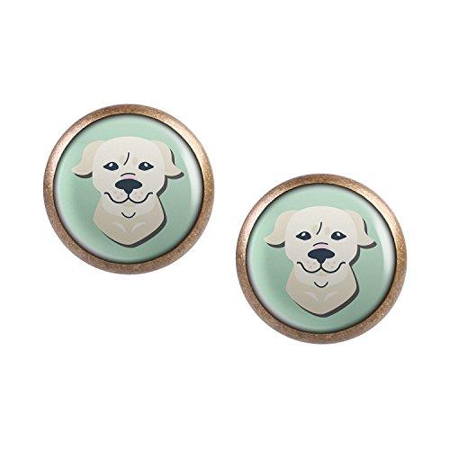 Mylery Ohrstecker Paar mit Motiv Hund Golden Retriever bronze 12mm