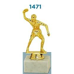 Trofeo premiazioni Tenis Mesa–H cm 15,5–Manivela–Base de mármol Figura de plástico Made in Italy