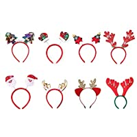 Muro Pack of 8 Christmas Headbands with Different Designs for Christmas and Holiday Parties (ONE Size FIT ALL)
