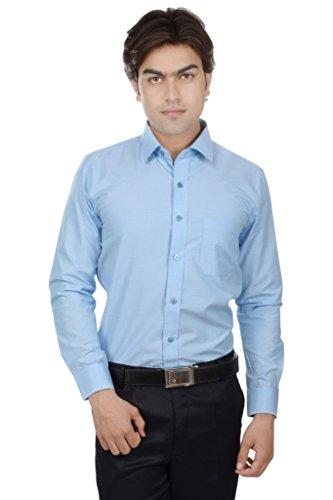 25th R Sky Blue Cotton Blend Slim Fit Solid Plain Formal Shirts For Men