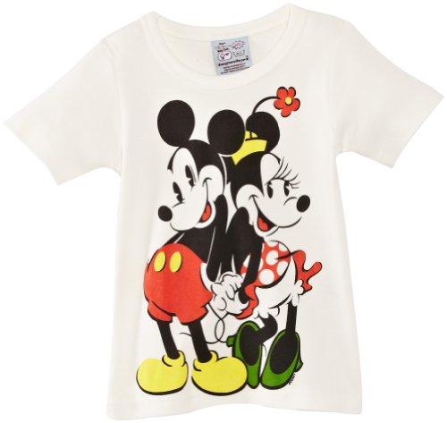 Logoshirt Mädchen T-Shirt  Kids Shirt Disney Minnie & Mickey  - Elfenbein - Elfenbein - Off White (Almost White) - 8 Jahre (Herstellergröße: Manufacturer Size:122/134)