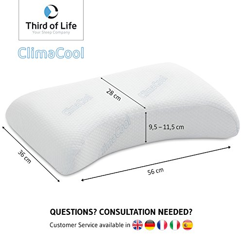 Kühlendes Kopfkissen VITAL ice | Höhenverstellbares Nackenstützkissen mit ClimaCool-Bezug | Orthopädisches Visco-elastisches Memory-Schaum Kissen | Atmungsaktiv / Ergonomisch / Erfrischend - 2