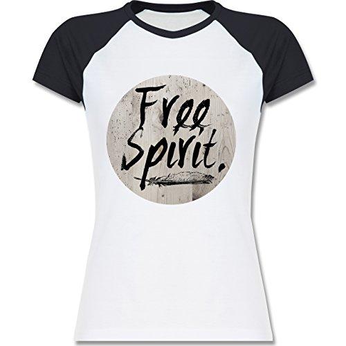 Statement Shirts - Free Spirit - zweifarbiges Baseballshirt / Raglan T-Shirt für Damen Weiß/Navy Blau