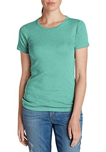 Eddie Bauer Damen Favorite Shirt - Kurzarm mit Rundhalsausschnitt, Gr. XL (46/48), Türkis meliert (Bauern Türkis)