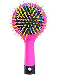Queenbox® Rainbow Volume Antistatische Magie Haar Curl Straight Massage Kamm Bürste Styling-Tools mit Spiegel