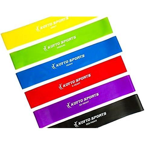 Bandas Elásticas de Resistencia Premium - Set de 6 Bandas Elásticas para Entrenamiento Fitness 30 x 5 cm más Manual de Entrenamiento y Garantía de por Vida