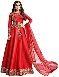 AnK Women's Red Malbury Silk Embroidered Long Semi-Stitched Salwar Suit