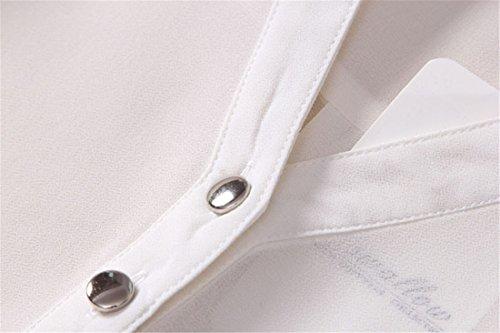 Frauen Tops Und Chiffon Gefesselten Langarm V-Ausschnitt-Taste Tasche Beilaeufige Hemd Weiß