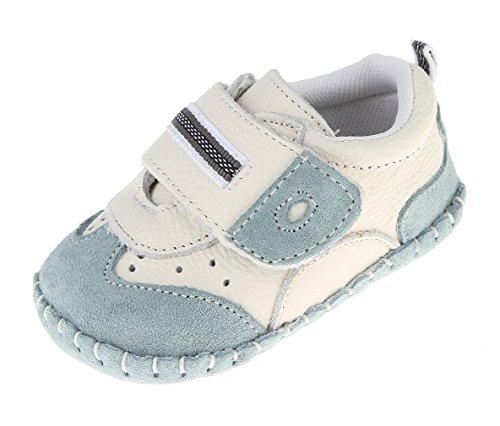 Cloud Kids Babyschuhe Jungen Lauflernschuhe Krabbelschuhe Weiche Sohle Lederschuhe für Baby 0-36 Monate 6-12 Monate Blau
