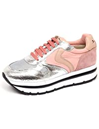VOILE BLANCHE F4534 Sneaker Donna Silver Pink May Crack Lame  Shoe Woman b157b219468