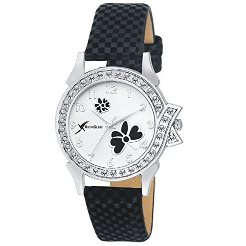 Rich Club RC-2252BLK Diamond~Studded Analog Watch - For Women And Girls …