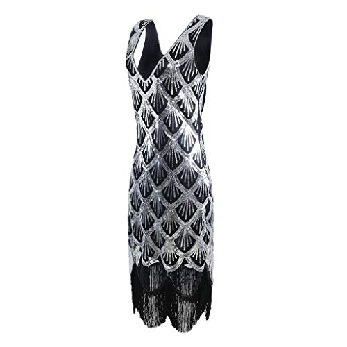 Perlen Kostüm Übergröße - Beikoard Frauen 1920 s Gatsby Charleston Inspiriert Pailletten Fringe Flapper Kleid Perlen Art Deco Kleid V-Ausschnitt Sleeveless Lange Party Kostüm