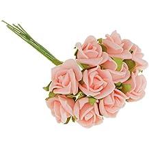 100pcs Mini Rosas Artificiales Ramo Flores Plantas Inicio Decoración Hogar Novia Boda - Rosa