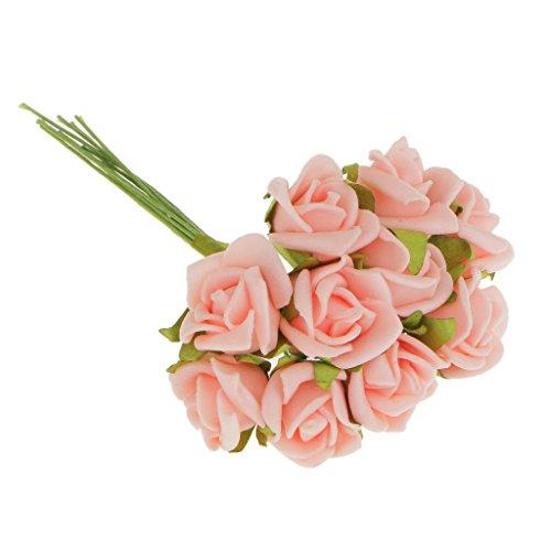 100Pcs Mini Künstliche Rosen Blumen Bouquet Startseite Hochzeit Rosenstrauß Dekor - Rosa, 10cm
