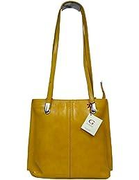 attractive amarillo bolso de mano de cuero sobre el hombro Dora Gialla