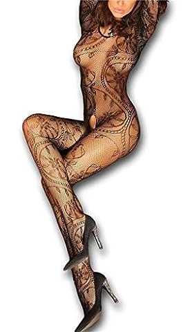 Sexy Bodystocking sexy Netz Catsuit feine Spitze Overall langarm offen im Schritt, S/L schwarz (Nineties Halloween Kostüme)
