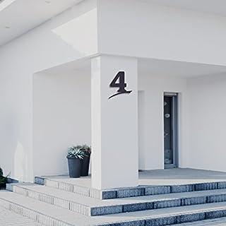 Hausnummer 4 ( 30cm Ziffernhöhe ) in Anthrazit-grau, schwarz oder weiß, 6mm stark aus Acrylglas - Original ALEZZIO Design - Rostfrei, UV-beständig und abwaschbar, Anthrazit wie Pulverbeschichtet RAL 7016, mit Montageschablone