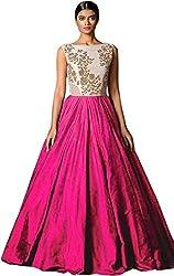Jay Varudi Creation Women's Bhagalpuri Silk Pink & White Semi - Stitched floor length Gown