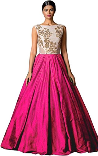 Jay Varudi Creation Women's Bhagalpuri Silk Pink & White Semi - Stitched floor length Gown  available at amazon for Rs.199