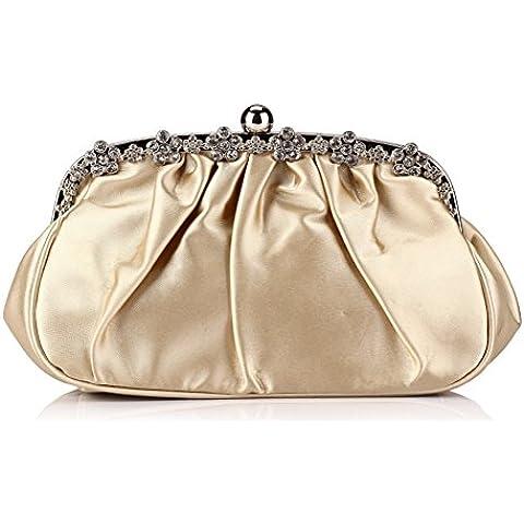 Auspicious beginning Simple-tachonado diamante de imitación plisado bolso bolsa de embrague de la tarde