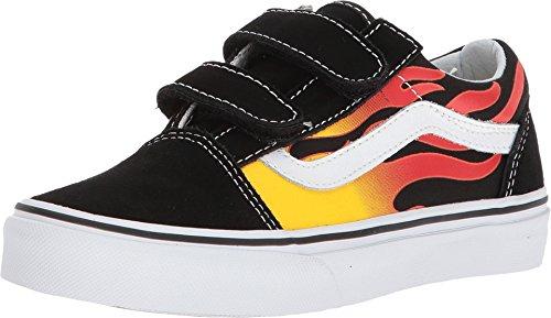 Vans Kids Old Skool V (Flame) Black/Black/Tr/WHT Skate Shoe 13.5 Kids US