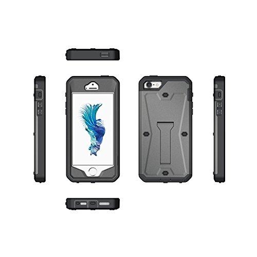 JIALUN-étui pour téléphone IPhone 5 5S SE Case, PC + TPU détachable Housse de protection 3 en 1 Housse de téléphone cool ( Color : Silver , Size : IPhone SE 5S ) Gray