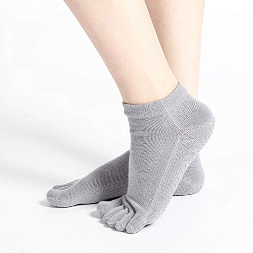 GUANGBO Winter Socken Rutschfest Yoga Fünf-Zehen-Socken Frühling Und Herbst Anti-Rutsch-Socken Sport Atmungsaktiv Baumwollsocken Boden Socken Professionell Yogasocken,Gray