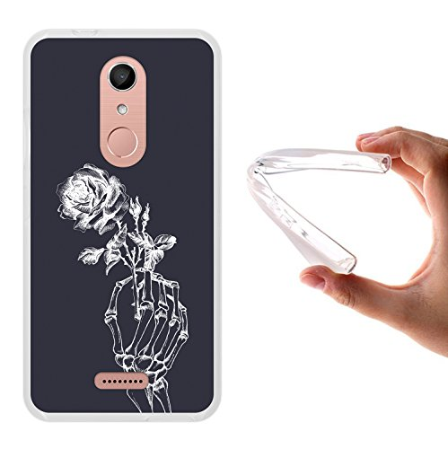 WoowCase Wiko U Pulse Lite Hülle, Handyhülle Silikon für [ Wiko U Pulse Lite ] Skeletthand und Rose Handytasche Handy Cover Case Schutzhülle Flexible TPU - Transparent