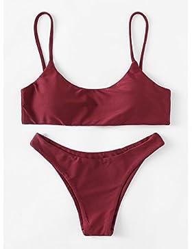 Moderno y cómodo bikini _ moderno y cómodo bikini camiseta color sólido split bañador bañador bikini, rojo ,M