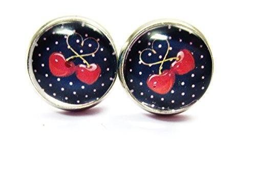 Kirschen Motiv Cabochon Ohrstecker 12mm Frucht Ohrringe silber-farben