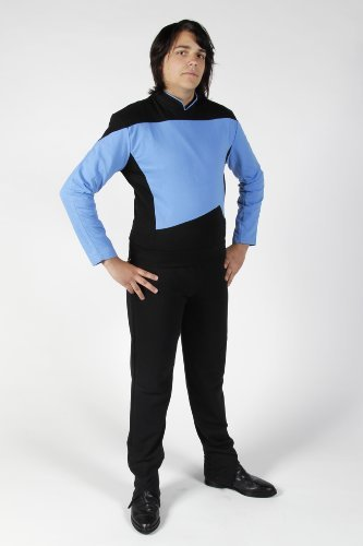 Star Trek - The Next Generation - Raumschiff Enterprise - Uniform Shirt + Hose - Blau - L (Star Trek Next Generation Kostüm Shirt)