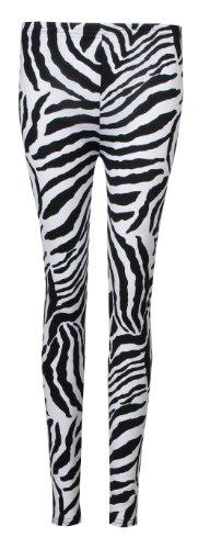 Fast Fashion Damen Tier Zebra Drucken Armelloses Top Und Leggings Anzug (SM = 36/38, Zebra Leggings) (Print Print-zebra)