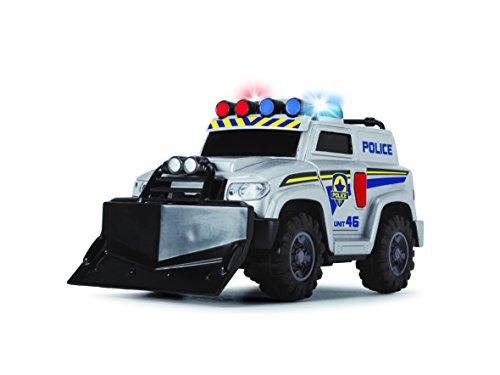 Dickie- Coche de Policía Action Series 3302001 Vehículo de Juguete con función, Color Negro, Azul, Blanco (