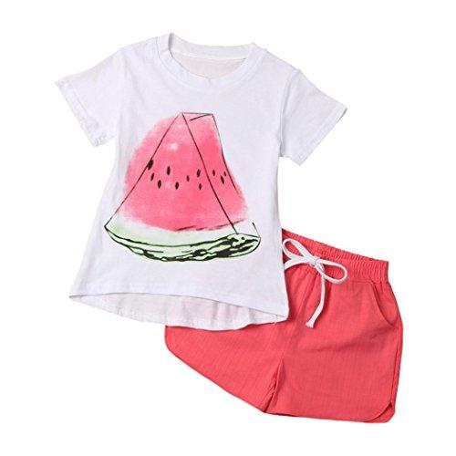 Koly_Toddler Kid della neonata piccola anguria shirt + vestiti dei