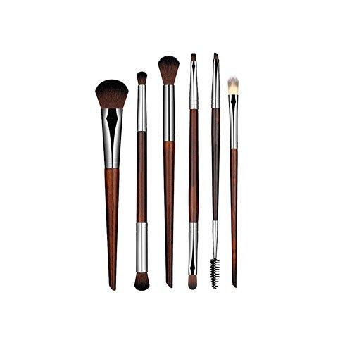 Hrph 6pcs Pinceaux de Maquillage Pinceaux pour le Yeux professionnel Brosses Ombre à Paupières Sourcils Cil Eyeliner Brush Outil Beauté Cosmétique Bois Rouge
