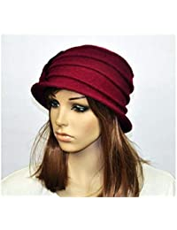 21adb4c57a FidgetGear M92 Wine-Red Wool Acrylic Cute Flowers Winter Brim Hat Cap  Beanie Women's