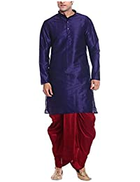 Mag Men's Navy Blue Silk Kurta Red Dhoti