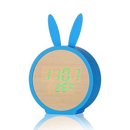 PrideSong Kreative wecker Kaninchen Form led-anzeige Holz Uhr sprachsteuerung Cartoon wecker Bambus Holz grünes licht + blau Upgrade lagerung
