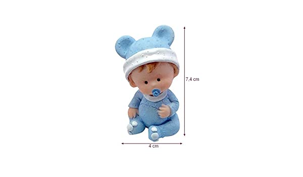 Doge B/éb/é Gar/çon en Pyjama Bleue avec T/étine Petite Figurine en r/ésine bapt/ême ou babyshower 7,4 x 4cm