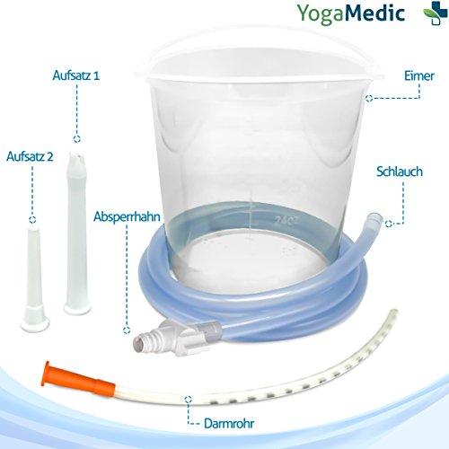 YOGAMEDIC Einlauf Darmreinigung – 1,5l Irrigator Set inklusive 1,3m Schlauch, 3 verschiedenen Aufsätzen und Absperrhahn – Mit Zufriedenheitsgarantie – BPA Frei